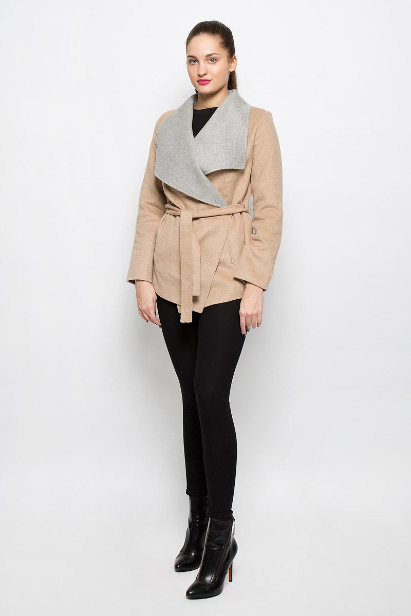 Куртка3532834.00.75_8168Женская куртка Tom Tailor Contemporary c длинными рукавами и воротником-апаш выполнена из комбинированного материала. Модель не имеет застежек и фиксируется при помощи съемного пояса. Изделие имеет два втачных кармана спереди.