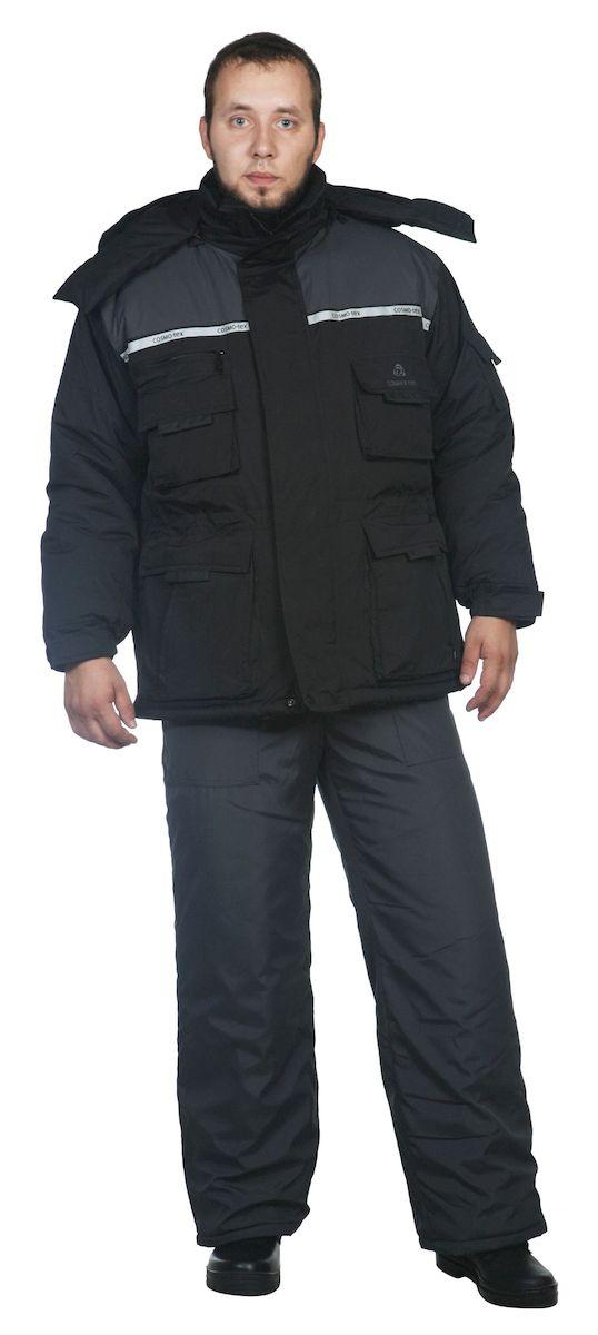 Куртка рыболовная5412Куртка + жилет зимние - капюшон с регулировкой по высоте лицевой части резиновым шнуром пристегивается на молнию; - центральная застежка куртки на двухзамковую фронтальную молнию, закрыта ветрозащитной планкой на кнопках и липучках; - воротник-стойка комбинированный с флисом; - СОП на полочках и спинке, на капюшоне; - низ куртки и линия талия с регулировкой по ширине резиновым шнуром; - низ рукавов на манжетах с резиновой тесьмой и регулировочной патой с липучкой; - жилет пристегивается на молнию; - низ жилета с регулировкой объема резиновым шнуром; - количество карманов – 10
