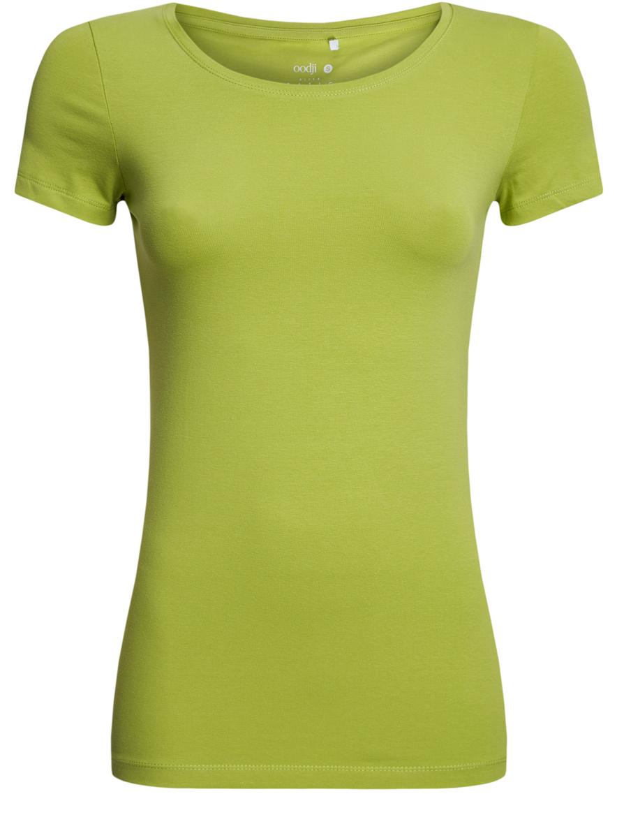 Футболка14701005-7B/46147/2000MСтильная женская футболка oodji Ultra, выполненная из хлопка с небольшим добавлением полиуретана, отлично дополнит ваш гардероб. Модель с круглым вырезом горловины и короткими рукавами.