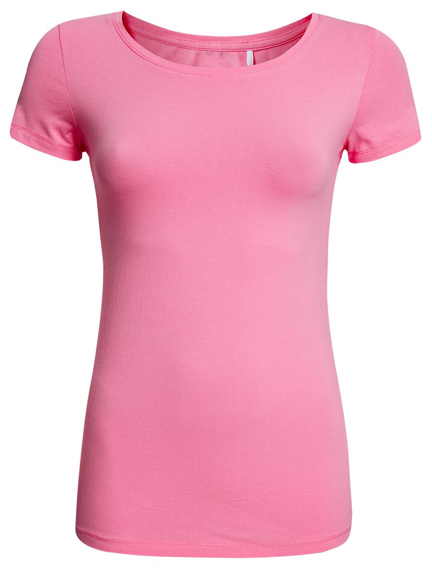 Футболка женская oodji Ultra, цвет: розовый. 14701005-7B/46147/4100N. Размер XS (42)14701005-7B/46147/4100NСтильная женская футболка oodji Ultra, выполненная из хлопка с небольшим добавлением полиуретана, отлично дополнит ваш гардероб. Модель с круглым вырезом горловины и короткими рукавами.