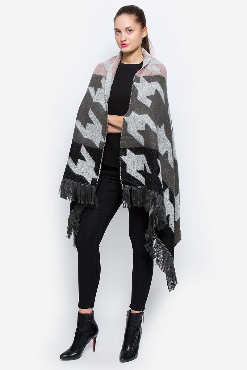 Пончо женское Glamorous, цвет: серый, коричневый, светло-розовый. KA5177. Размер 42/48KA5177_Multi Large DogstoothТеплое женское пончо Glamorous, изготовленное из высококачественного акрила, идеальный вариант для прохладной погоды. Изделие очень мягкое и приятное на ощупь. Модель оформлена стильным принтом и крупной бахромой.