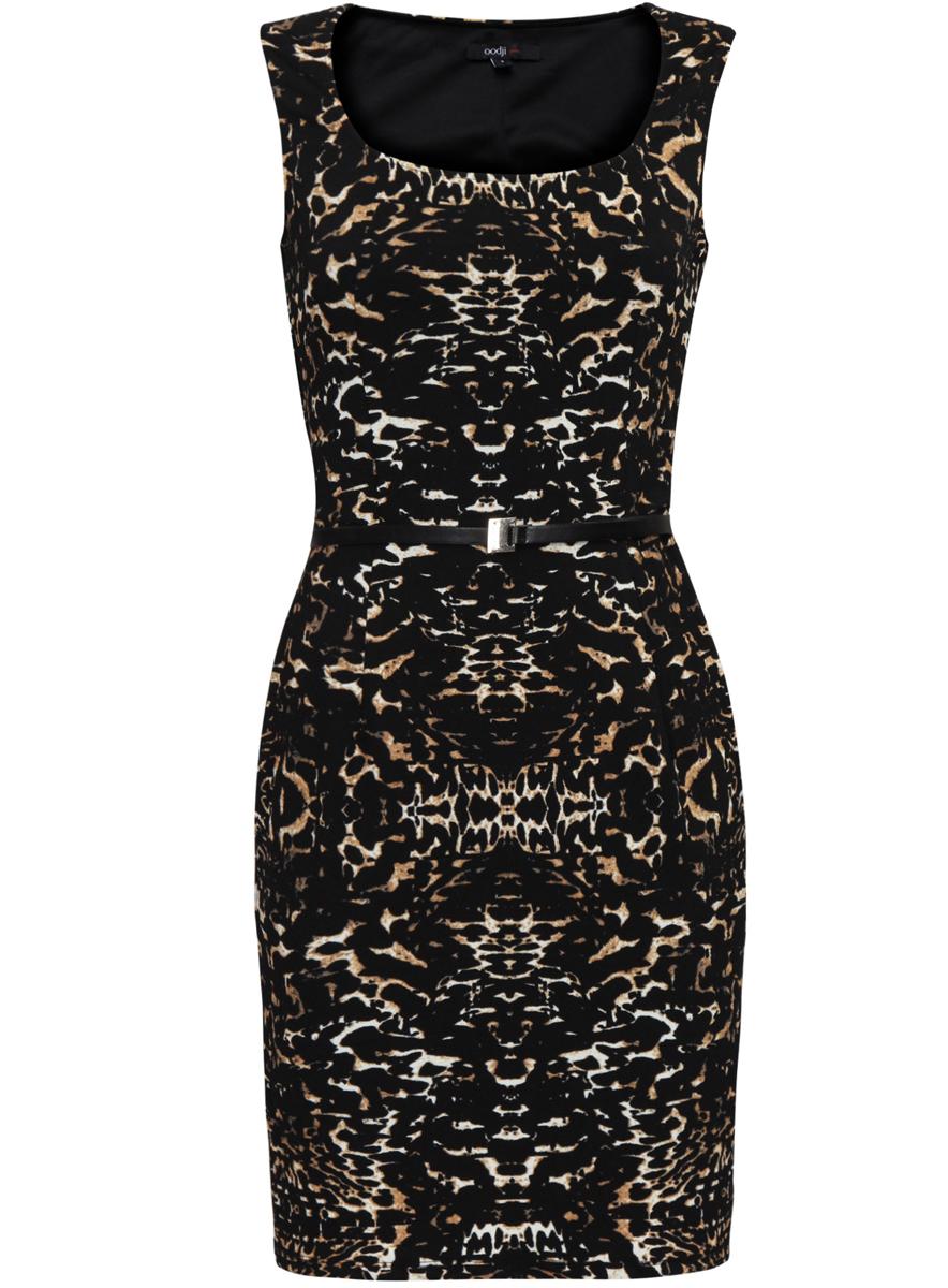Платье14015001/36233/2933AСтильное платье oodji Ultra выполнено из полиэстера с добавлением полиуретана. Модель с круглым вырезом горловины на талии дополнена ремнем из искусственной кожи с металлической пряжкой. Оформлено изделие интересным принтом.