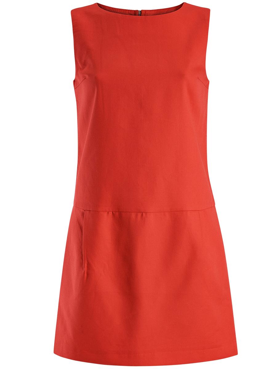 Платье oodji Ultra, цвет: красный. 11910072-1/35618/4500N. Размер 38 (44-170)11910072-1/35618/4500NПлатье oodji Ultra выполнено из высококачественного плотного хлопкового материала.Укороченная модель без рукавов имеет круглый вырез горловины и два втачных кармана. Платье застегивается на молнию на спинке. Стильное решение для любого мероприятия.