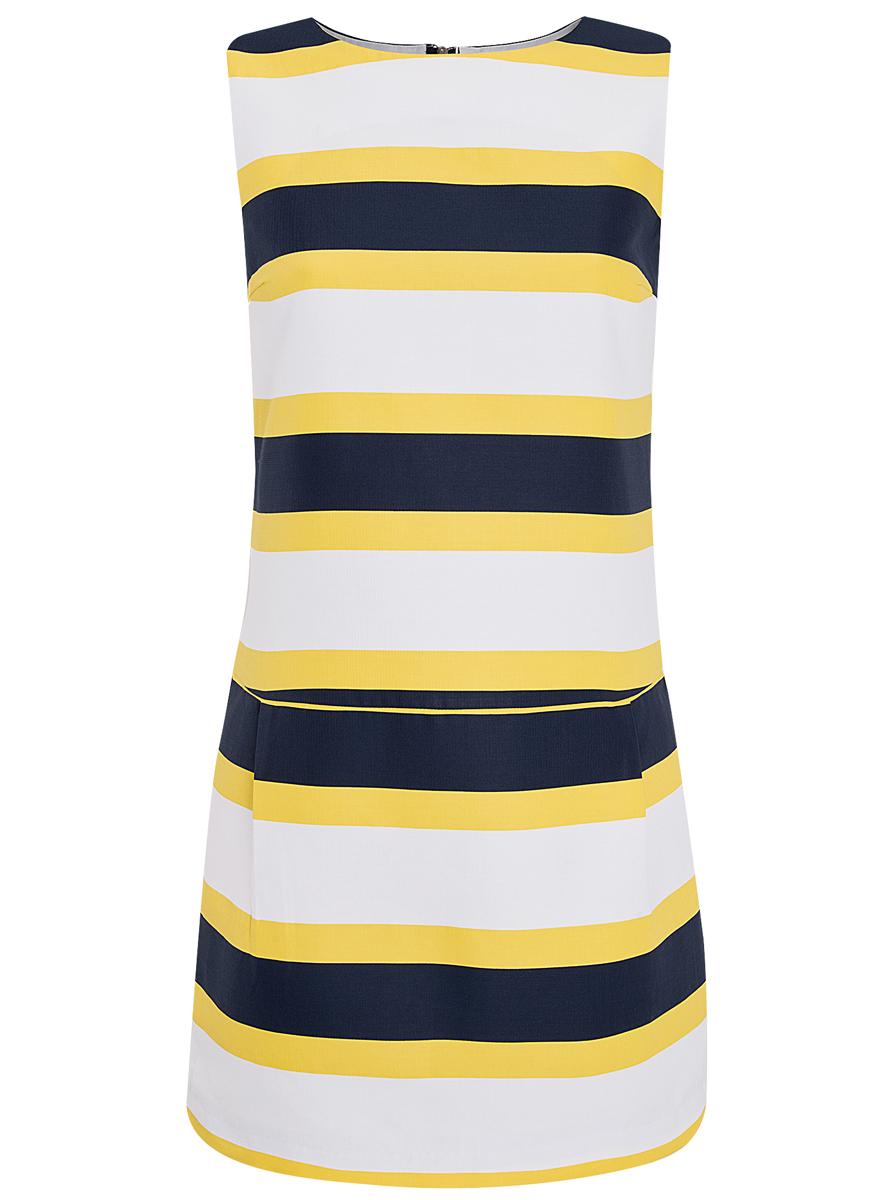 Платье oodji Ultra, цвет: белый, темно-синий, желтый. 11910072/35618/1079S. Размер 42 (48-170)11910072/35618/1079SПлатье oodji Ultra выполнено из высококачественного плотного хлопкового материала Укороченная модель без рукавов имеет круглый вырез горловины и два втачных кармана. Платье застегивается на молнию на спинке. Стильное решение для любого мероприятия.