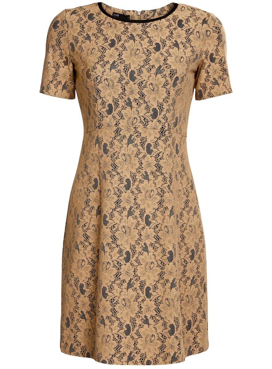 Платье oodji Ultra, цвет: бежевый, черный. 11900213/45991/2935L. Размер 40 (46-170)11900213/45991/2935LМодное платье oodji Ultra станет отличным дополнением к вашему гардеробу. Модель выполнена из качественного комбинированного материала на подкладке из полиэстера. Платье-миди с круглым вырезом горловины и короткими рукавами застегивается сзади по спинке на застежку-молнию. Верх модели изготовлен из элегантного кружева, а вырез горловины дополнен вставкой из искусственной кожи.