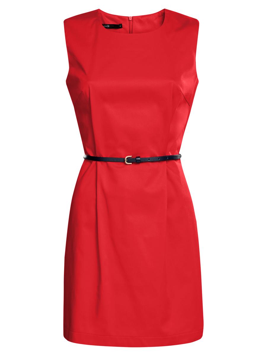 Платье oodji Ultra, цвет: красный. 11900128-1/42542/4500N. Размер 44 (50-170)11900128-1/42542/4500NСтильное платье oodji Ultra, выполненное из эластичного хлопка, отлично дополнит ваш гардероб. Модель-миди с круглым вырезом горловины и без рукавов застегивается сзади по спинке на застежку-молнию. Выполнено платье в лаконичном стиле. В комплект входит ремешок из искусственной кожи.