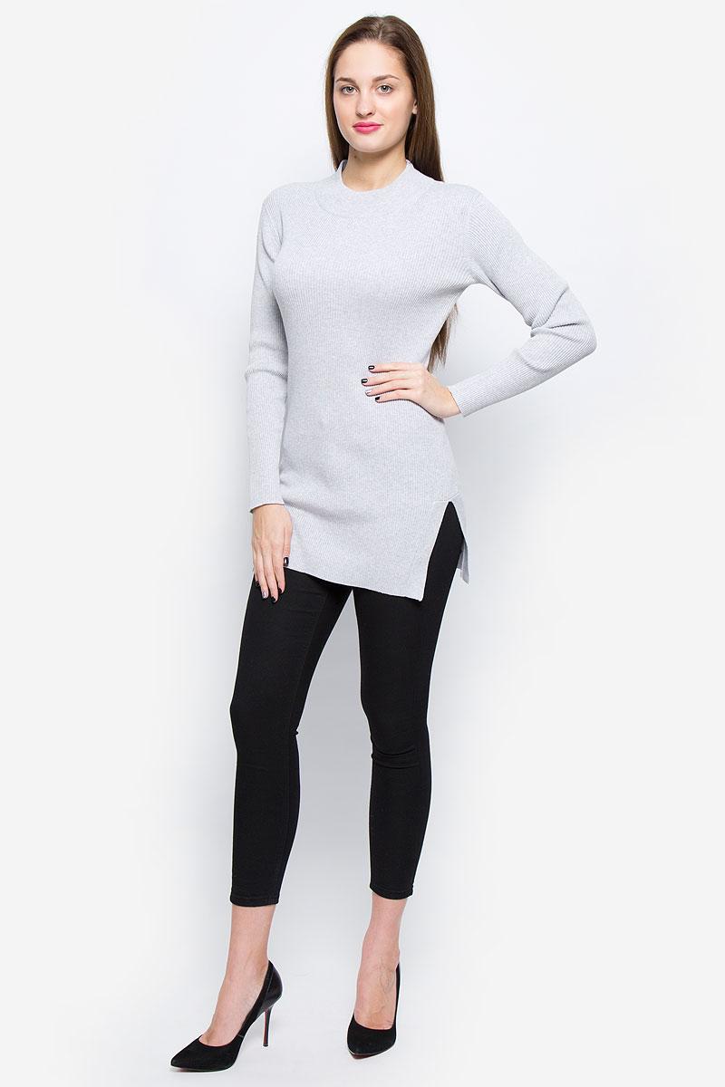 Джемпер женский Glamorous, цвет: светло-серый меланж. CK3304. Размер S (44)CK3304_Light GreyЖенский джемпер Glamorous выполнен из натурального хлопка. Удлиненная модель связана резинкой. Джемпер с круглым вырезом горловины и длинными рукавами имеет разрезы по бокам.
