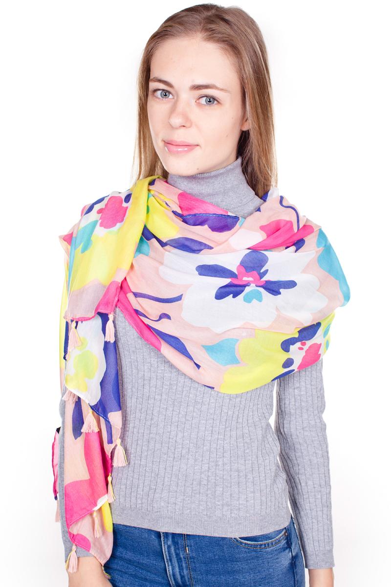 ПалантинYY-21644-86Стильный женский палантин Sophie Ramage станет великолепным завершением любого наряда. Палантин изготовлен из модала с добавлением шелка и оформлен ярким цветочным принтом. По краям модель дополнена кистями бахромы. Изящный палантин поможет вам создать изысканный женственный образ, а также согреет в непогоду.