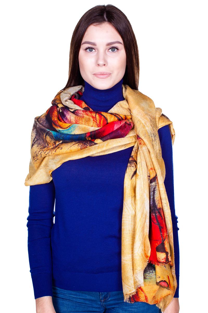 Палантин Sophie Ramage, цвет: желто-оранжевый, красный, синий. HL-21601-15. Размер 90 см х 180 смHL-21601-15Стильный женский палантин Sophie Ramage станет великолепным завершением любого наряда.Палантин изготовлен из модала с добавлением шерсти и оформлен ярким оригинальным принтом. По краю модель украшена небольшой бахромой. Изящный палантин поможет вам создать изысканный женственный образ, а также согреет в непогоду.