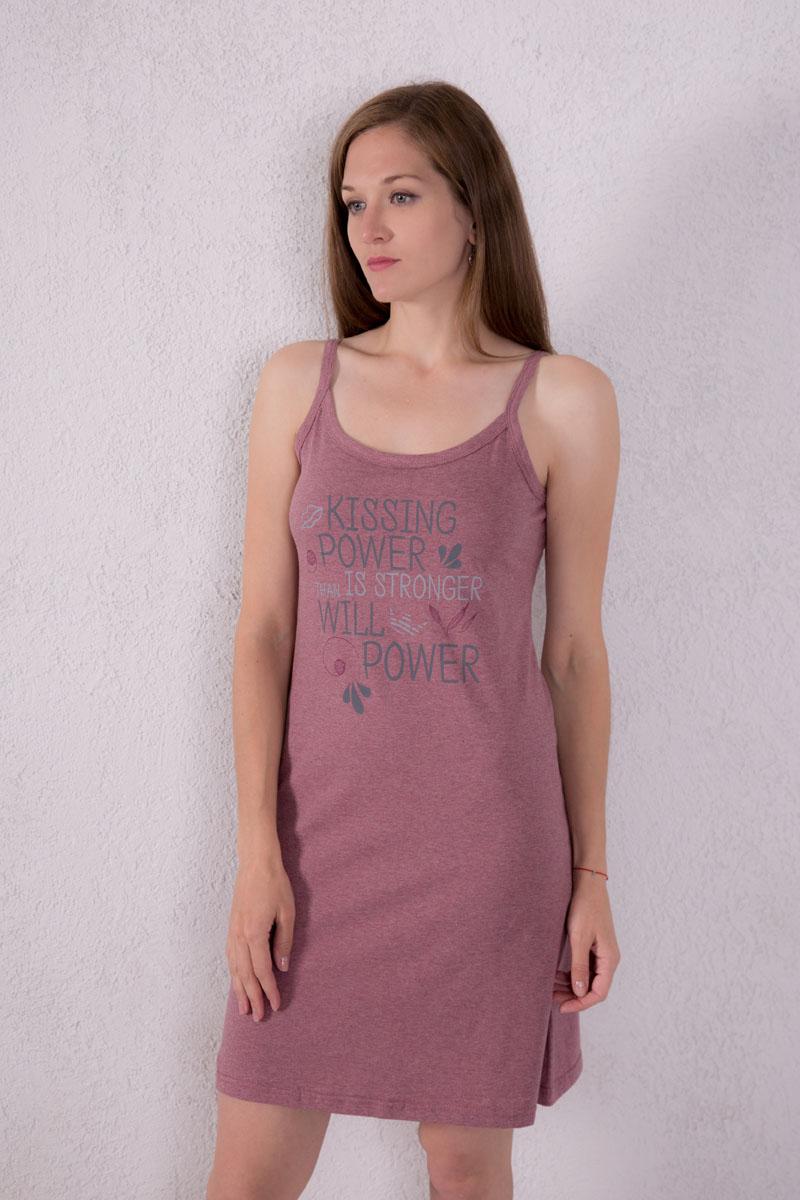 Платье домашнее7117110302Платье домашнее Violett изготовлено из натурального хлопка. Модель на бретельках оформлена принтовыми надписями.
