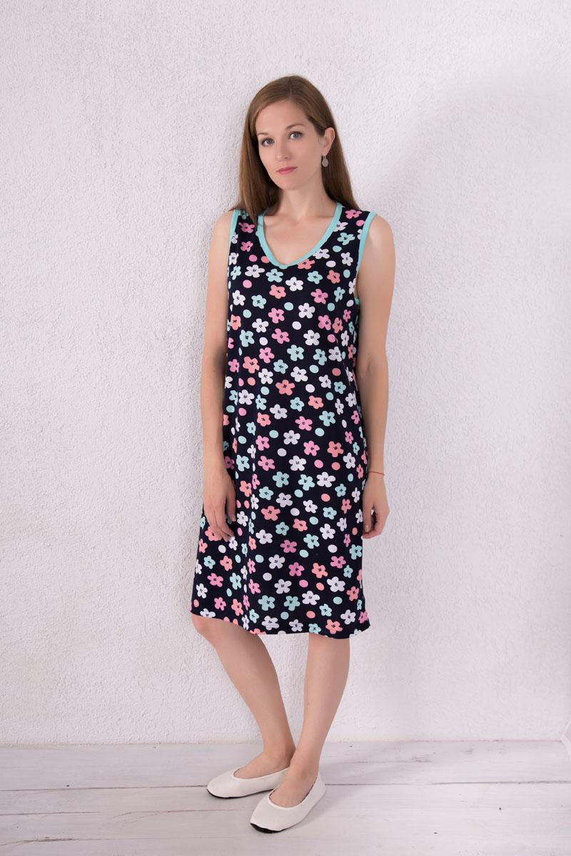 Платье домашнее7117110604Домашнее платье Violett выполнено из натурального хлопка. Платье-миди с V-образным вырезом горловины и без рукавов оформлено цветочным принтом и принтом в горох.