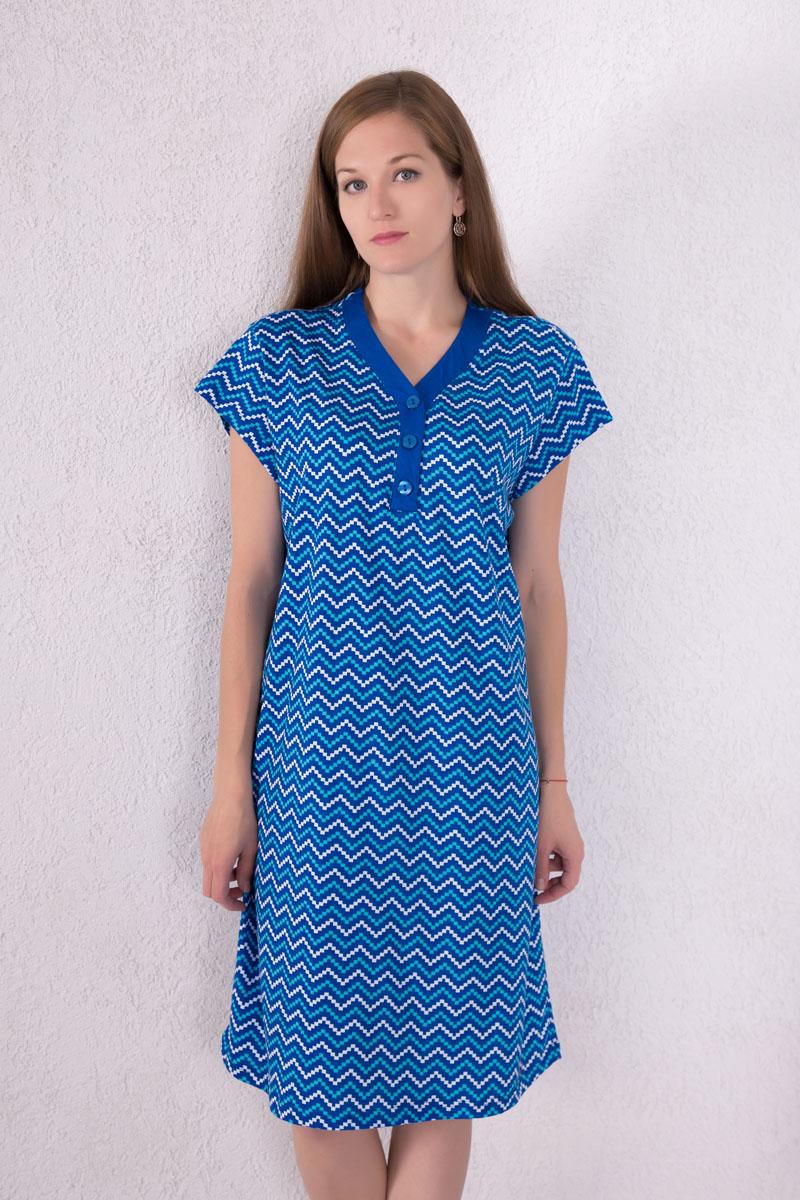 Платье домашнее7117110801Домашнее платье Violett выполнено из натурального хлопка. Платье-миди с V-образным вырезом горловины и короткими рукавами застегивается спереди на три пуговицы. Оформлено изделие оригинальным принтом.