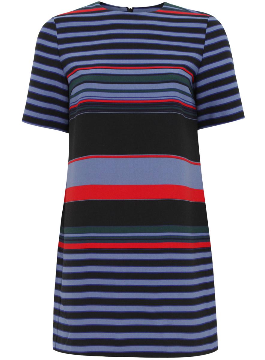 Платье oodji, цвет: черный, голубой. 21910002-2/45171/2970S. Размер 40 (46-170)21910002-2/45171/2970SСтильное платье oodji выполнено из 100% полиэстера. Модель с круглым вырезом горловины и короткими рукавами сзади застегивается на скрытую застежку-молнию. Модель оформлена принтом в полоску.