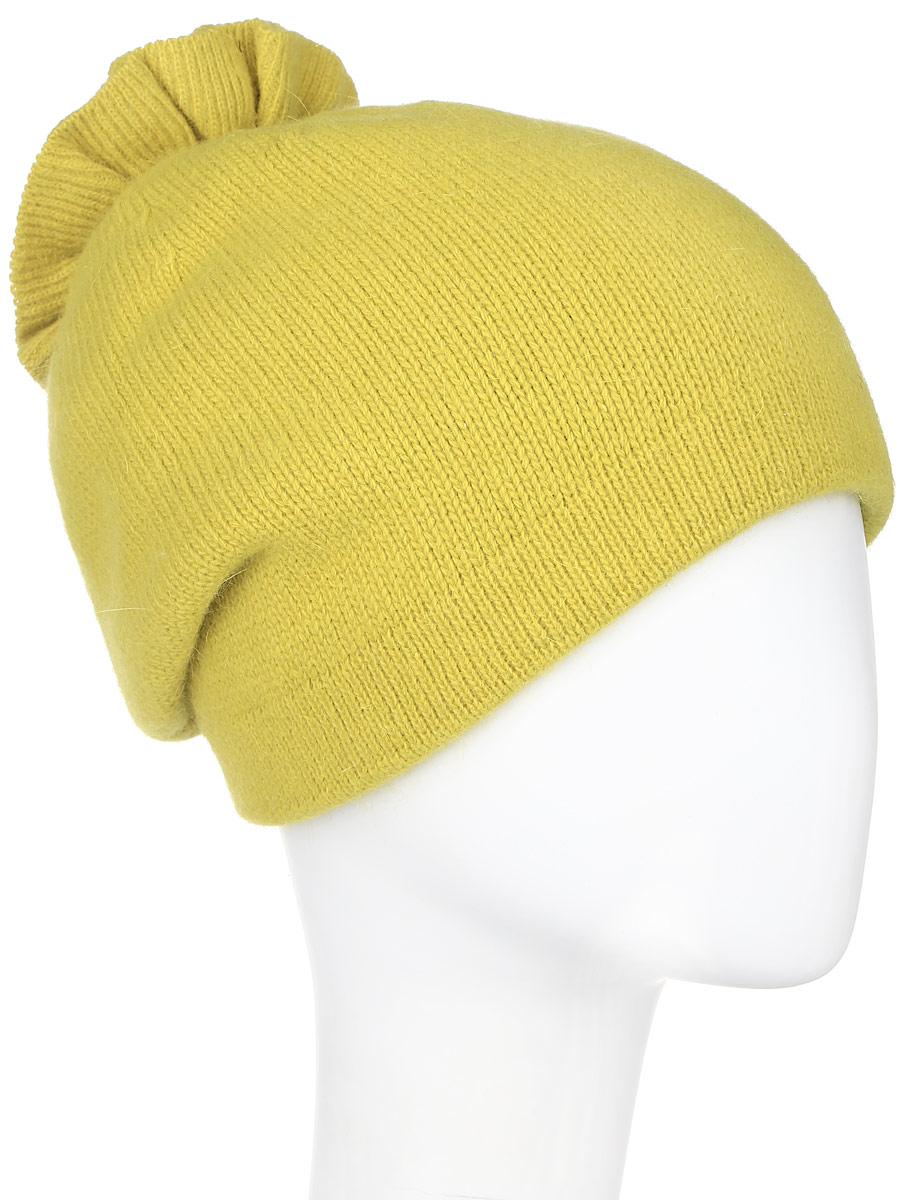 Шапка женская Vittorio Richi, цвет: горчичный. 261871L. Размер 56/58261871L-63Теплая женская шапка Vittorio Richi отлично дополнит ваш образ в холодную погоду. Сочетание шерсти, ангоры и полиамида сохраняет тепло и обеспечивает удобную посадку, невероятную легкость и мягкость.Удлиненная шапка выполнена плотной вязкой и дополнена на макушке оригинальным вязанным цветком. Модель составит идеальный комплект с модной верхней одеждой, в ней вам будет уютно и тепло.Уважаемые клиенты!Размер, доступный для заказа, является обхватом головы.