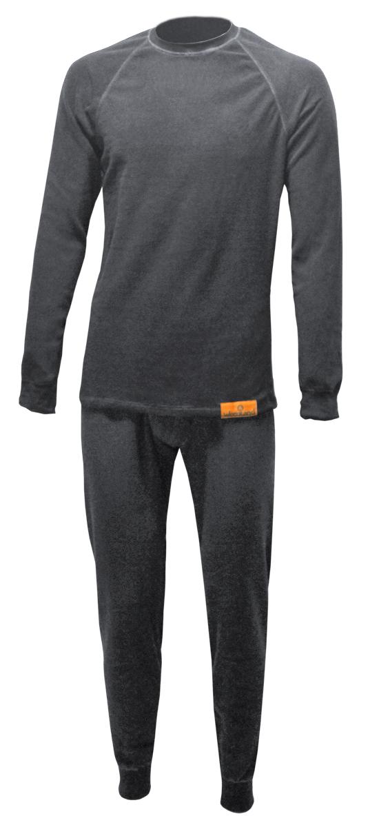 Комплект термобелья Woodland ThermoLine: брюки, кофта, цвет: серый. 57386. Размер XXL (54/56)ThermoLineКомплект термобелья Woodland ThermoLine изготавливается из качественного полиэстера. Может использоваться как одежда первого слоя (термобельё), так и как утепляющий флисовый второй слой с другими моделями термобелья Woodland. Материал изделия эластичный, легко тянется. Элементы кроя соединяются плоскими швами, которые при натяжении и под давлением не врезаются в кожу, не вызывают потертостей и ссадин. Комплект термобелья Woodland ThermoLine подходит для активного отдыха в зимний период, для повседневного ношения и длительного пребывания на открытом воздухе в холодном климате. Комплект термобелья Woodland ThermoLine комфортен в использовании, при продолжительном ношении не вызывает зуда. Материал изделия отводит влагу от тела и согревает. При намокании не теряет способности удерживать тепло, быстро сохнет на теле. Температурные показатели: при низкой физической активности - до минус 20 градусов, при высокой физической активности - до минус 30 градусов.