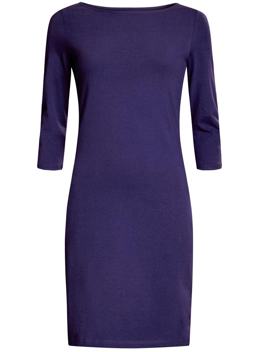 Платье oodji Ultra, цвет: темно-фиолетовый. 14001071-2B/46148/7500N. Размер XS (42)14001071-2B/46148/7500NСтильное платье oodji, выполненное из хлопка с добавлением эластана, отлично дополнит ваш гардероб. Модель длины мини с круглым вырезом горловины и рукавами 3/4.