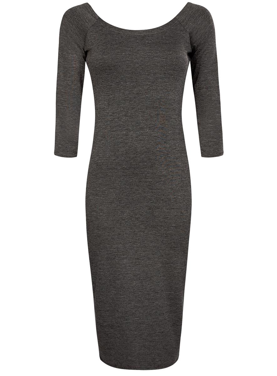 Платье oodji Ultra, цвет: темно-серый меланж. 14017001/42376/2500M. Размер XXS (40)14017001/42376/2500MПлатье oodji Ultra выполнено из облегающей ткани. Имеет длину миди, рукава 3/4 и разрез-лодочку воротника, который позволяет носить изделие как с открытыми плечами, так и стандартно.