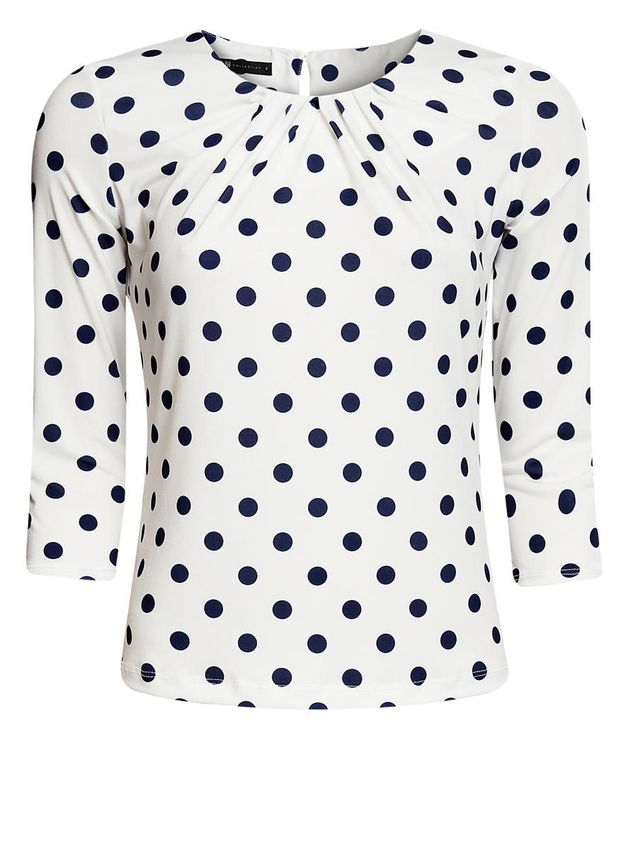 Блузка24201012-1/26256/1279DЖенская блузка oodji Collection выполнена из полиэстера с добавлением эластана. Модель с круглым вырезом горловины и рукавами 3/4 сзади застегивается на пуговицу. Оформлено изделие принтом в горох.
