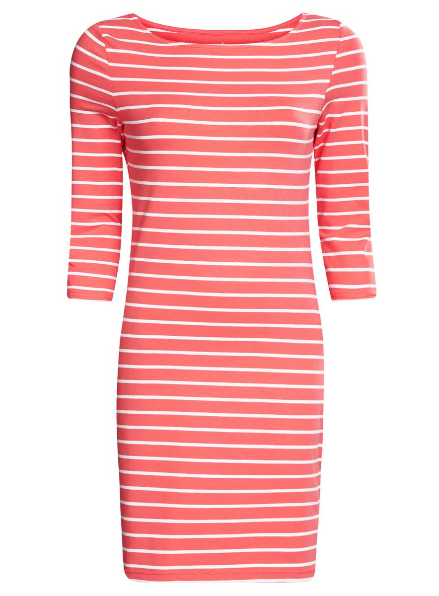 Платье oodji Ultra, цвет: коралловый, белый. 14001071-2B/46148/4310S. Размер XS (42)14001071-2B/46148/4310SСтильное платье oodji Ultra, выполненное из эластичного хлопка, отлично дополнит ваш гардероб. Модель мини-длины с круглым вырезом лодочкой и рукавами 3/4 оформлена принтом в полоску.