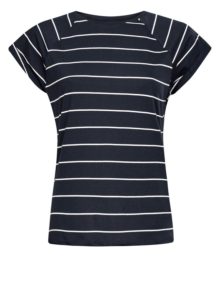 Футболка женская oodji Ultra, цвет: темно-синий, белый. 14707001-4B/46154/7912S. Размер S (44)14707001-4B/46154/7912SЖенская футболка выполнена из хлопка и оформлена принтом в полоску. Модель с круглым вырезом горловины и короткими рукавами реглан, дополненными отворотом.