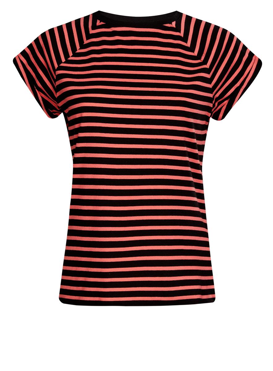 Футболка женская oodji Ultra, цвет: черный, коралловый. 14707001-4B/46154/2943S. Размер XXS (40)14707001-4B/46154/2943SЖенская футболка выполнена из хлопка и оформлена принтом в полоску. Модель с круглым вырезом горловины и короткими рукавами реглан, дополненными отворотом.