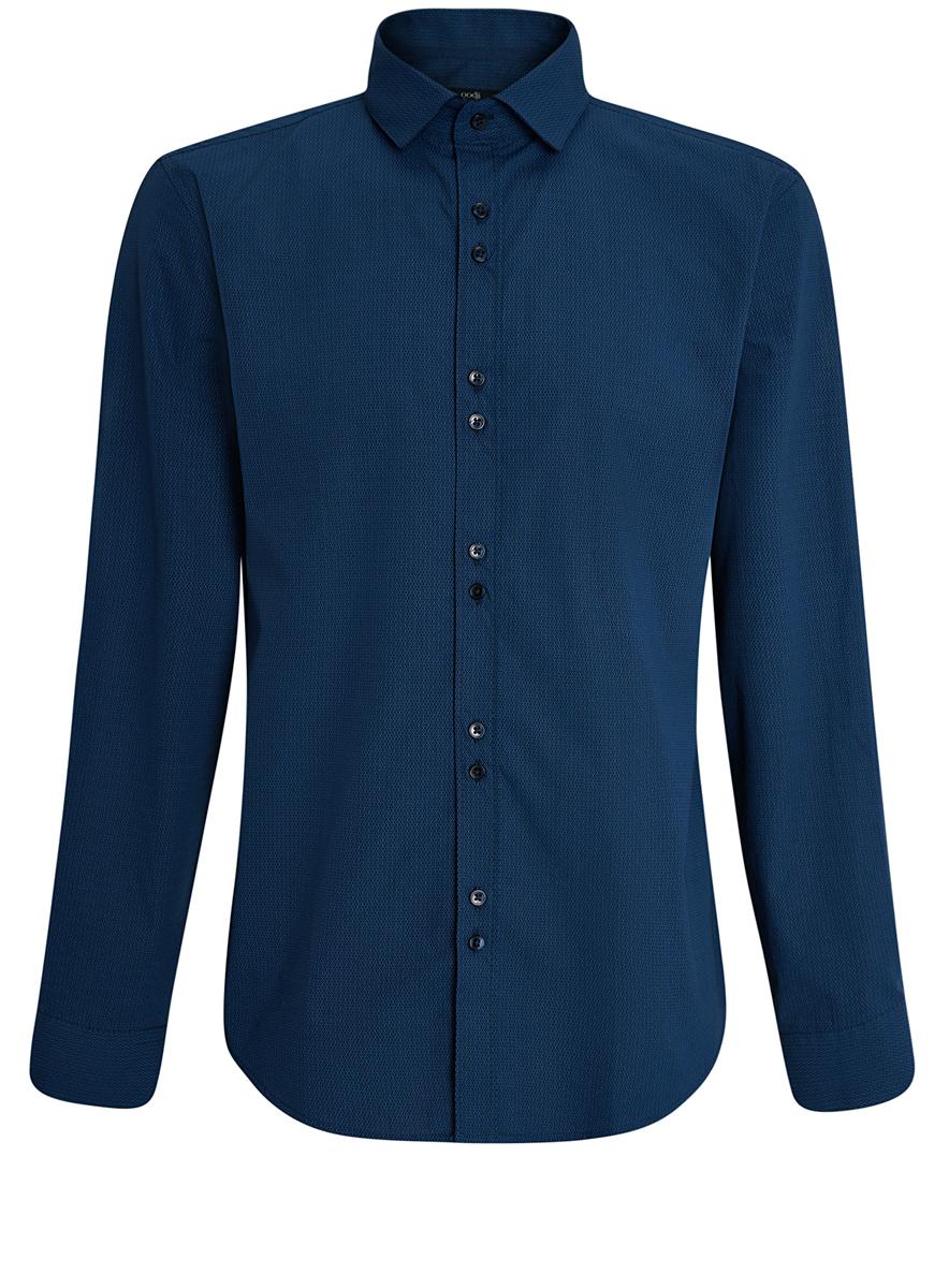 Рубашка3L110199M/19370N/7975GСтильная мужская рубашка oodji выполнена из натурального хлопка. Модель с отложным воротником и длинными рукавами застегивается на пуговицы спереди. Манжеты рукавов дополнены застежками-пуговицами. Оформлена рубашка оригинальным узорчатым принтом.