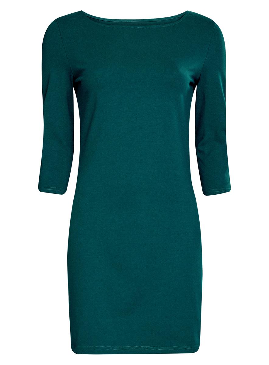 Платье oodji Ultra, цвет: темно-зеленый. 14001071-2B/46148/6E00N. Размер M (46)14001071-2B/46148/6E00NСтильное платье oodji, выполненное из хлопка с добавлением эластана, отлично дополнит ваш гардероб. Модель длины мини с круглым вырезом горловины и рукавами 3/4.