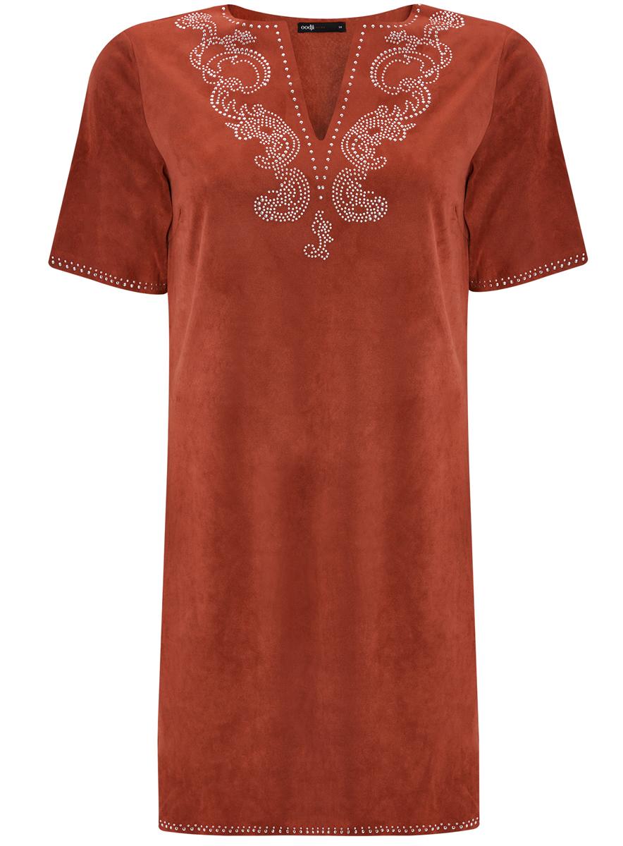Платье18L01001/45622/3100NСтильное платье oodji Ultra выполнено из мягкой искусственной замши. Модель с V-образным вырезом горловины и короткими рукавами оформлена аппликацией из металлических страз.