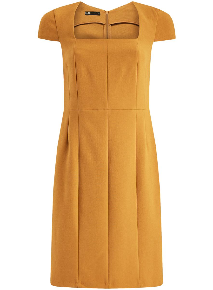 Платье21902065/31291/7400NЖенское приталенное платье-футляр oodji имеет квадратный вырез воротника, рукава-крылышки и шлицу сзади. Застегивается на молнию на спинке. Выполнено из плотной ткани.