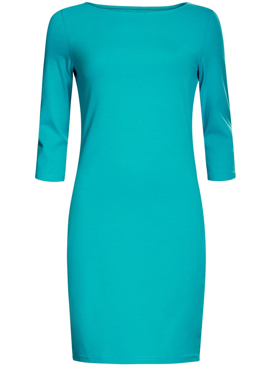 Платье oodji Ultra, цвет: бирюзовый. 14001071-2B/46148/7300N. Размер L (48)14001071-2B/46148/7300NСтильное платье oodji, выполненное из хлопка с добавлением эластана, отлично дополнит ваш гардероб. Модель длины мини с круглым вырезом горловины и рукавами 3/4.