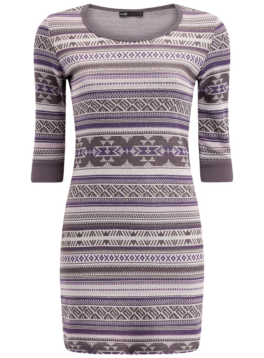 Платье oodji Ultra, цвет: сиреневый, серый. 14001064-5/46025/8023J. Размер XS (42)14001064-5/46025/8023JЖенское облегающее трикотажное платье oodji Ultra имеет круглый вырез, рукава 1/2 и оформлено принтом.