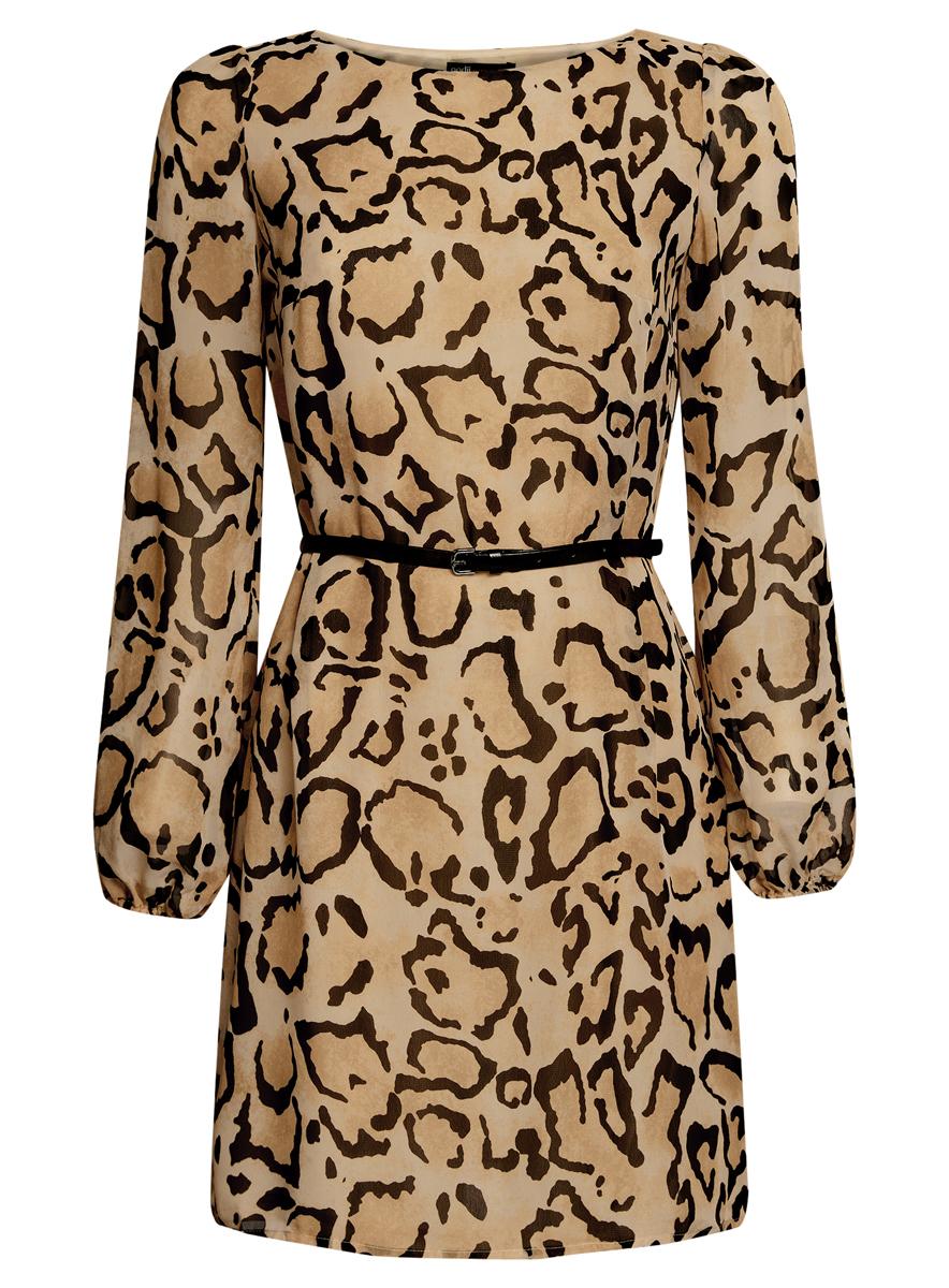 Платье oodji Ultra, цвет: бежевый, черный. 11900150-5/13632/3329A. Размер 44 (50-170)11900150-5/13632/3329AСтильное платье oodji Ultra выполнено из 100% полиэстера. Модель с круглым вырезом горловины и длинными рукавами оформлена интересным принтом. В комплект входит ремень из искусственной кожи с металлической пряжкой.