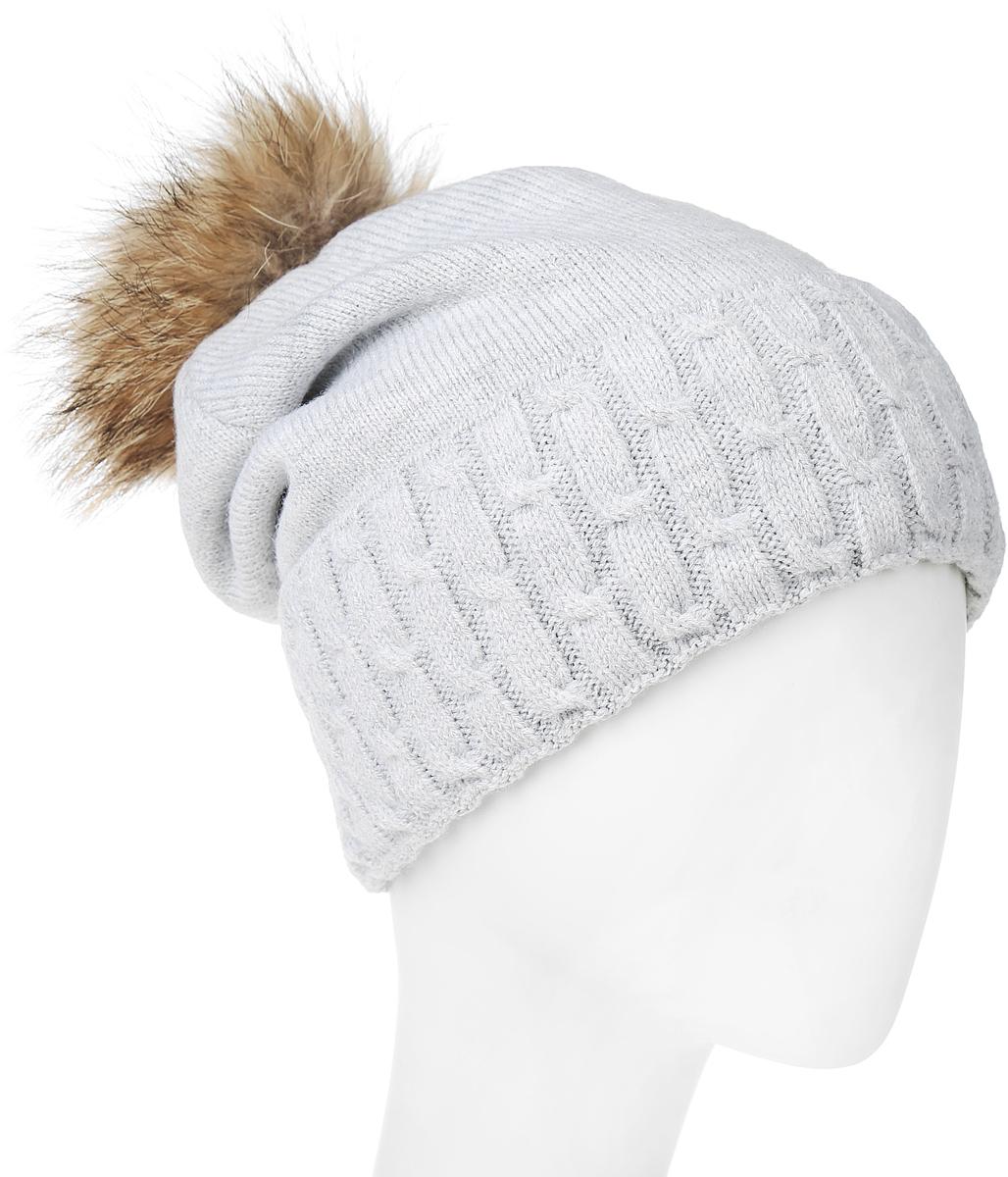 Шапка женская Marhatter, цвет: светло-серый. MLH6204. Размер 56/58MLH6204Теплая женская шапка Marhatter отлично дополнит ваш образ в холодную погоду. Сочетание шерсти и акрила максимально сохраняет тепло и обеспечивает удобную посадку, невероятную легкость и мягкость. Шапка с большим вязанным отворотом выполнена в лаконичном однотонном стиле. Макушка шапки дополнена пушистым помпоном из натурального меха енота. Модель составит идеальный комплект с модной верхней одеждой, в ней вам будет уютно и тепло.Уважаемые клиенты!Размер, доступный для заказа, является обхватом головы.