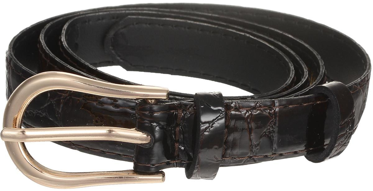 Ремень женский Vittorio Richi, цвет: темно-коричневый. 4411-20/20z. Размер 1154411-20/20zСтильный широкий ремень Vittorio Richi выполнен из высококачественной лаковой экокожи с тиснением под рептилию. Пряжка, выполненная из металла, позволит легко и быстро зафиксировать ремень и отрегулировать его длину. Уважаемые клиенты! Обращаем ваше внимание на тот факт, что размер ремня, доступный для заказа, является его длиной.