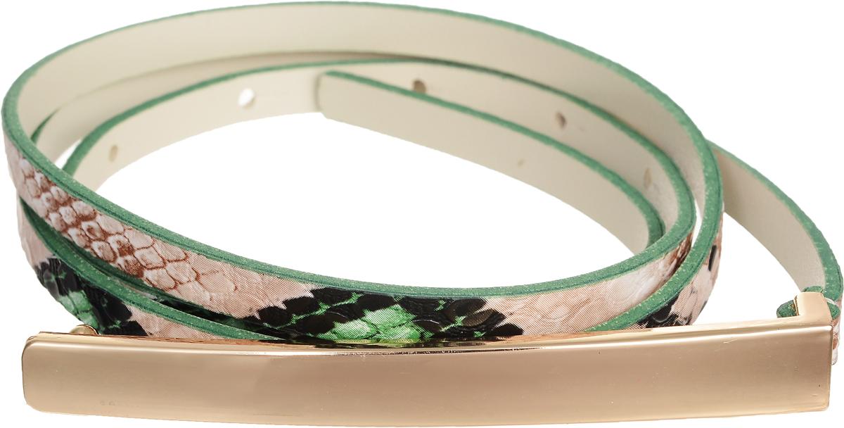 Ремень женский Vittorio Richi, цвет: бежевый, зеленый, черный. 4410-25/7z. Размер 1154410-25/7zЭлегантный тонкий ремень Vittorio Richi выполнен из высококачественной экокожи с тиснением под рептилию. Пряжка, выполненная из металла, позволит легко и быстро зафиксировать ремень и отрегулировать его длину. Уважаемые клиенты! Обращаем ваше внимание на тот факт, что размер ремня, доступный для заказа, является его длиной.