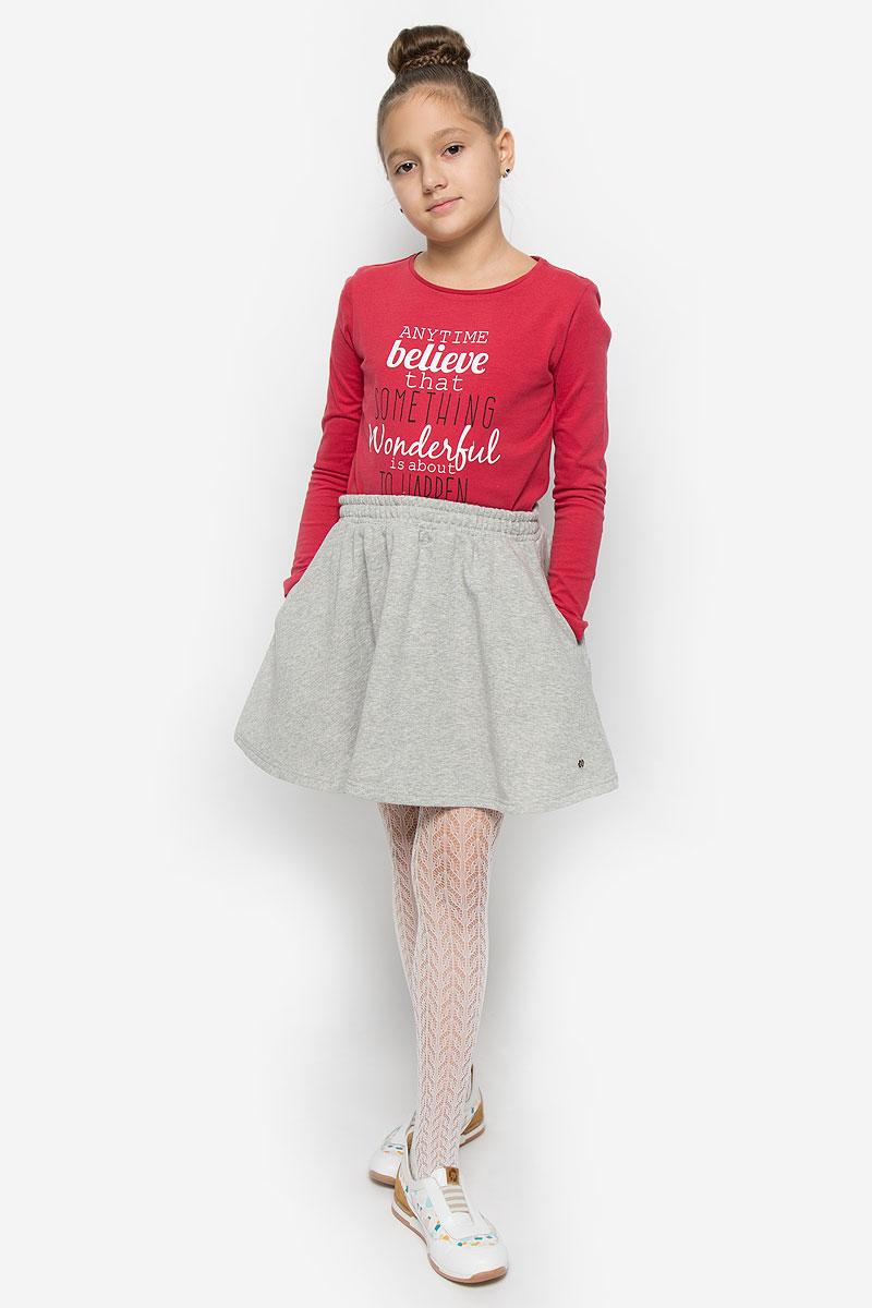 Юбка216BBGC55011911Модная юбка Button Blue идеально подойдет вашей моднице. Изготовленная из хлопка с добавлением полиэстера и люрекса, она мягкая и приятная на ощупь, не сковывает движения и позволяет коже дышать, не раздражает нежную кожу ребенка, обеспечивая наибольший комфорт. Модель-миди на талии имеет широкий эластичный пояс, дополненный шнурком. По бокам расположены втачные карманы.