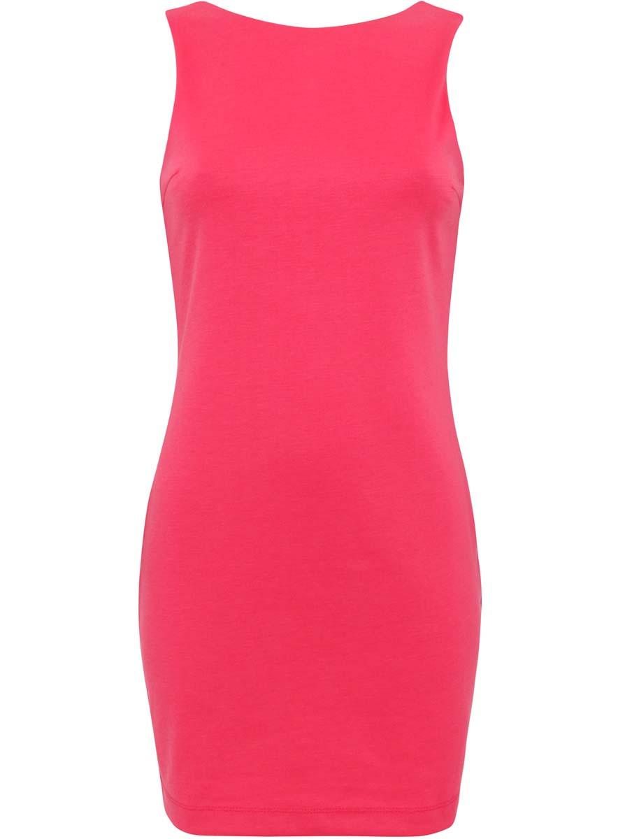 Платье14005128/18110/4D00NМодное трикотажное платье oodji Ultra выполнено из полиэстера с добавлением полиуретана. Модель по фигуре с круглым вырезом горловины, без рукавов и с глубоким вырезом на спине. Вырез на спине оформлен оборкой.