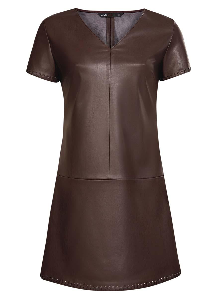 Платье oodji Ultra, цвет: темно-коричневый. 18L03001/43578/3900N. Размер 36 (42-170)18L03001/43578/3900NСтильное платье oodlji Ultra выполнено из искусственной кожи. Модель А-силуэта с V-образным вырезом горловины и короткими рукавами. Края рукавов и низ платья декорированы.