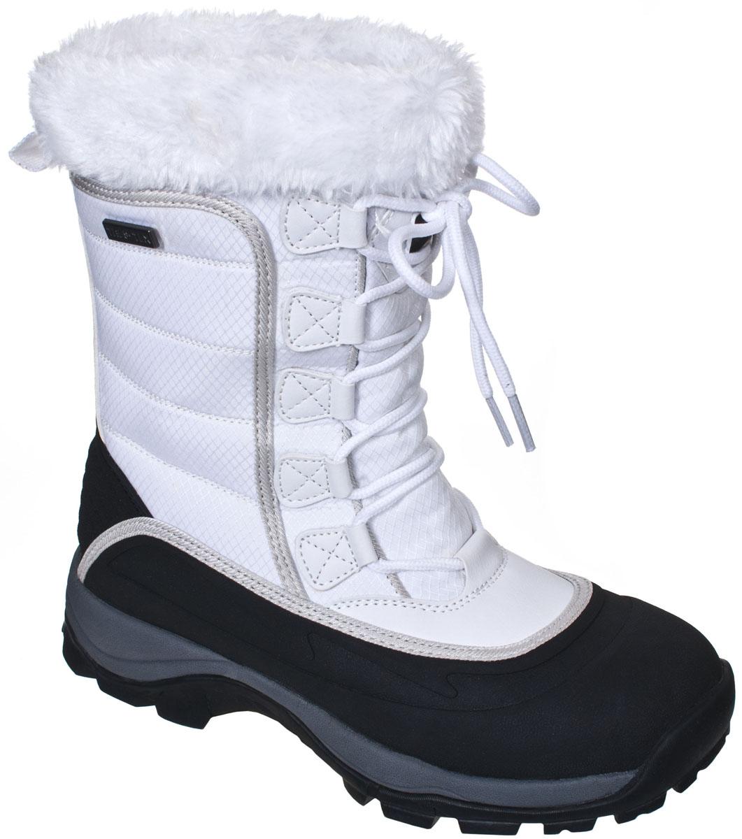 Ботинки трекинговые женские Trespass Stalagmite, цвет: белый, черный. FAFOBOJ20001. Размер 36FAFOBOJ20001Современные трекинговые женские ботинки Stalagmite от Trespass выполнены из текстильного водонепроницаемого материала и резины. Верхняя часть голенища оформлена меховой оторочкой. Специальное покрытие эффективно обеспечивает сухость и комфорт вашим ногам. Подкладка и стелька из текстиля комфортны при движении. Шнуровка надежно зафиксирует модель на ноге. Подошва дополнена рифлением.
