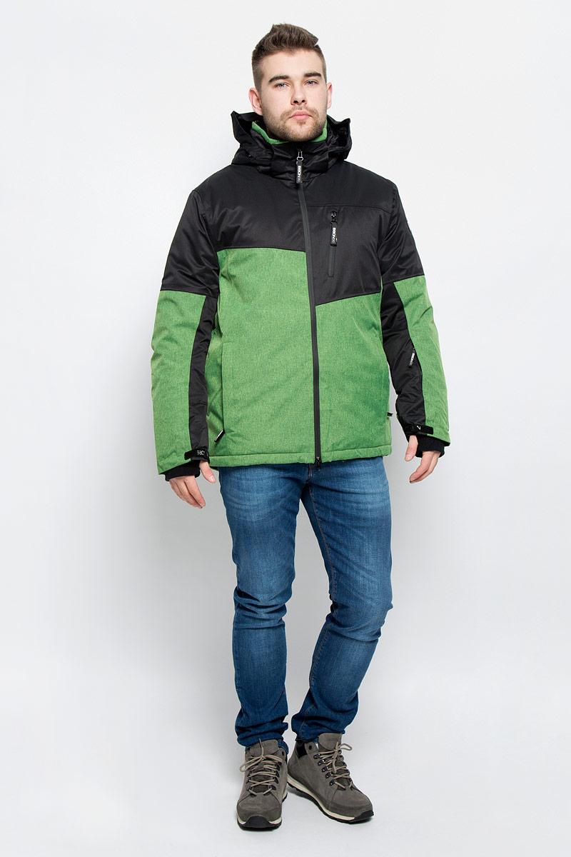 КурткаB536904_WASABI-BLACKМужская куртка Baon изготовлена из высококачественного полиэстера. В качестве утеплителя используется полиэстер. Куртка с воротником-стойкой и съемным капюшоном застегивается на застежку-молнию с двумя бегунками и защитой для подбородка, а также дополнительно имеет внутреннюю ветрозащитную планку. Капюшон оснащен эластичными шнурками со стопперами и пристегивается к куртке с помощью застежки-молнии. Рукава дополнены внутренними эластичными манжетами с отверстиями для больших пальцев и хлястиками на липучках. Под рукавом расположена застежка-молния и сетчатый материал для дополнительной вентиляции. Низ изделия дополнен съемной ветрозащитной планкой на кнопках. Объем по низу регулируется с помощью эластичного шнурка со стоппером. Спереди имеются три прорезных кармана на застежках-молниях, с внутренней стороны - прорезной карман на застежке-молнии и небольшой накладной карман-сетка на кнопке. На левом рукаве расположен небольшой прорезной карман на застежке-молнии . Куртка оформлена...
