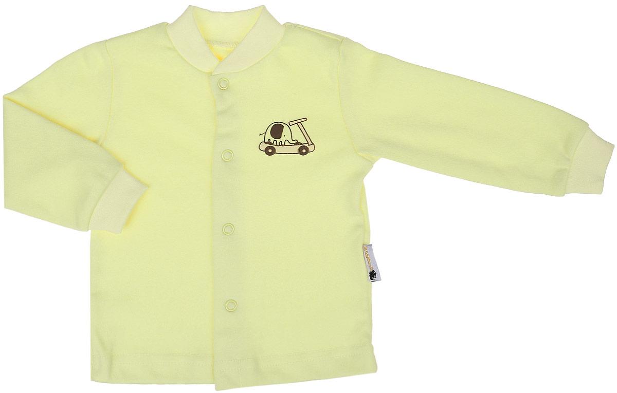 Кофточка детская Клякса, цвет: светло-желтый. 37-261. Размер 68, 6 месяцев37-261Кофточка для новорожденного Клякса послужит идеальным дополнением к гардеробу вашего ребенка, обеспечивая ему наибольший комфорт. Изготовленная из натурального хлопка, она необычайно мягкая и легкая, не раздражает нежную кожу ребенка и хорошо вентилируется, а эластичные швы приятны телу младенца и не препятствуют его движениям.Модель с длинными рукавами имеет круглый вырез горловины, дополненный мягкой трикотажной резинкой. Удобные застежки-кнопки по всей длине помогают легко переодеть ребенка. На рукавах предусмотрены трикотажные манжеты, не пережимающие ручки. Изделие оформлено оригинальным принтом с изображением забавных животных. Кофточка полностью соответствует особенностям жизни младенца в ранний период, не стесняя и не ограничивая его в движениях. В ней ваш ребенок всегда будет в центре внимания.