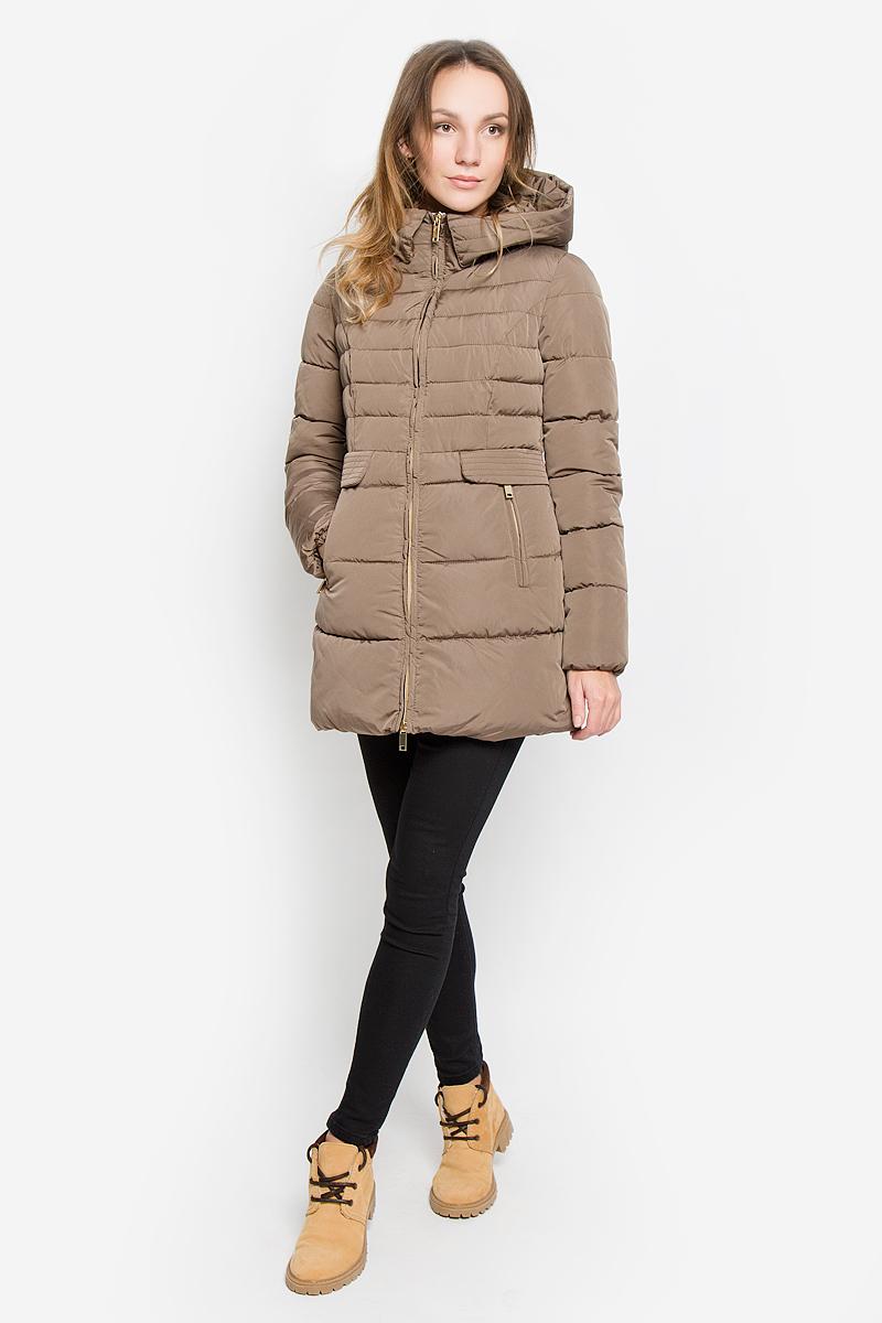 ПальтоAL-2964Стильное женское пальто Grishko изготовлено из высококачественного материала. В качестве утеплителя используется полиэфирное волокно. Пальто приталенного кроя с несъемным капюшоном, дополненным эластичным шнурком, застегивается на пластиковую молнию. Спереди расположены два прорезных кармана на застежках-молниях, оформленные декоративными клапанами на кнопках. Манжеты рукавов присборены резинкой.