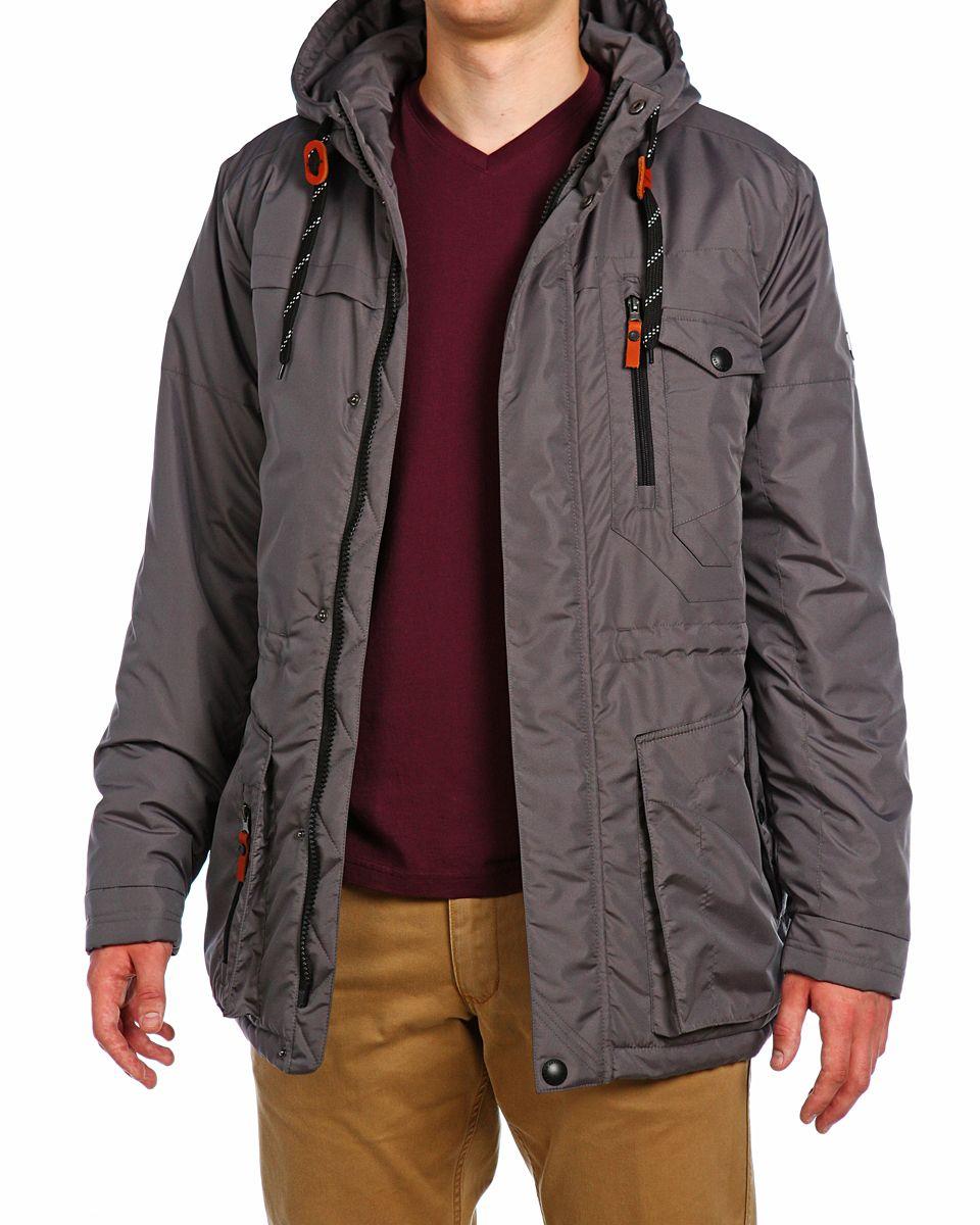 Куртка мужская Xaska, цвет: темно-сеpый. 15510. Размер 4615510_Dark GreyМужская куртка Xaska изготовлена из высококачественного полиэстера. В качестве утеплителя используется полиэстер. Куртка с несъемным капюшоном застегивается на застежку-молнию, а также дополнительно имеет ветрозащитную планку на кнопках. Капюшон оснащен текстильным шнурком со стопперами. Объем по низу и талии регулируется с помощью эластичного шнурка со стопперами. Спереди имеются пять карманов на застежках-молниях и кнопках, внутри расположены два кармана на застежках-молниях. На левом рукаве расположена небольшая металлическая пластина с названием бренда.