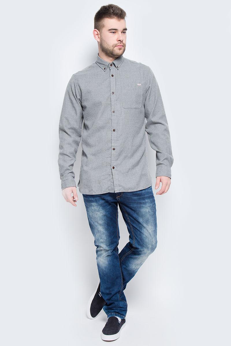 Рубашка12113437_Grey MelangeМужская рубашка Jack & Jones выполнена из полиэстера с добавлением вискозы. Рубашка с длинными рукавами и отложным воротником застегивается на пуговицы спереди. Манжеты рукавов также застегиваются на пуговицы. На груди расположен накладной карман.