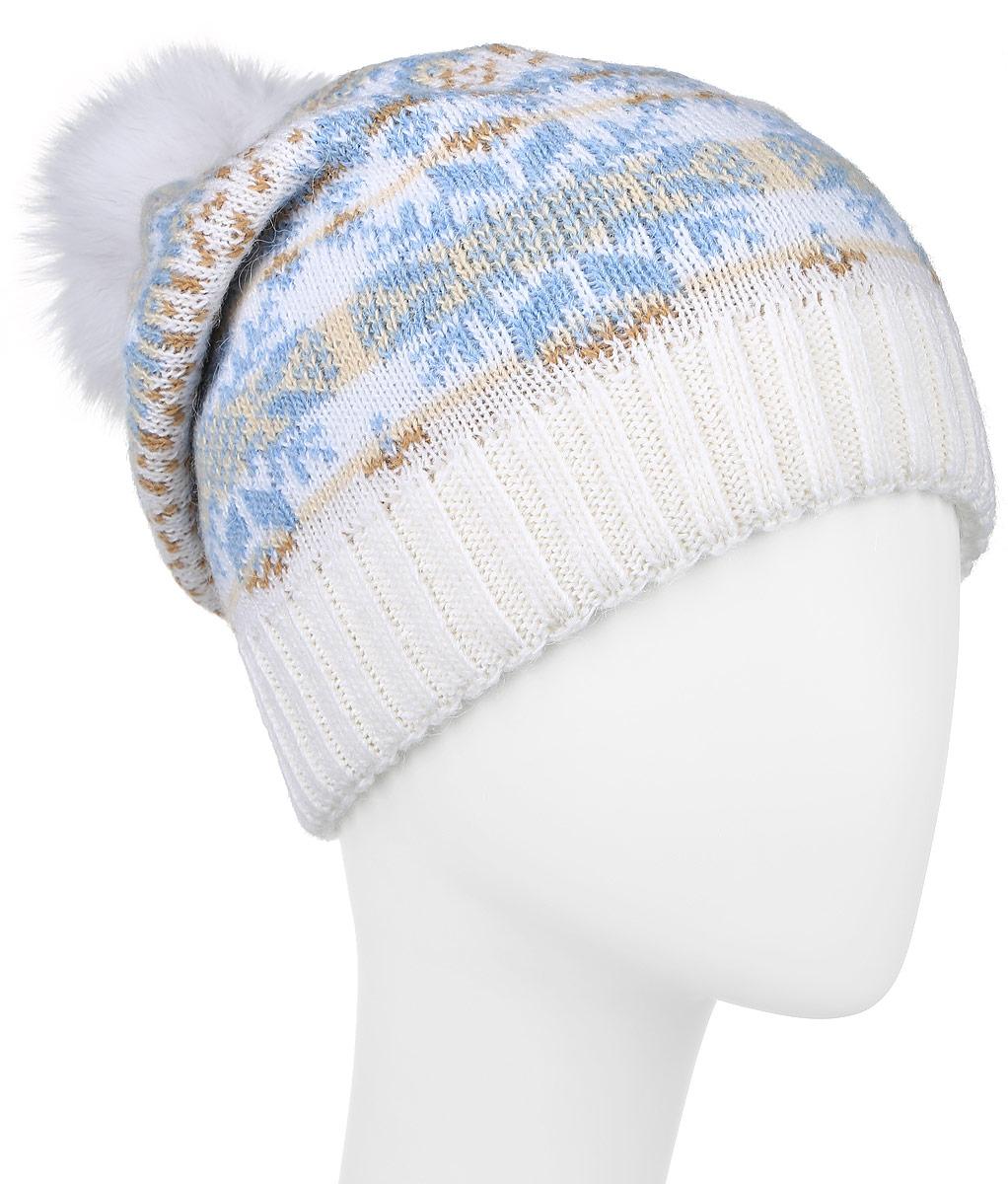 Шапка женская Finn Flare, цвет: белый, голубой. W16-12127_201. Размер 56W16-12127_201Стильная женская шапка Finn Flare дополнит ваш наряд и не позволит вам замерзнуть в холодное время года. Шапка выполнена из высококачественной пряжи, что позволяет ей великолепно сохранять тепло и обеспечивает высокую эластичность и удобство посадки.Модель оформлена оригинальным орнаментом и дополнена пушистым помпоном из меха песца. Такая шапка станет модным и стильным дополнением вашего гардероба.Уважаемые клиенты!Размер, доступный для заказа, является обхватом головы.