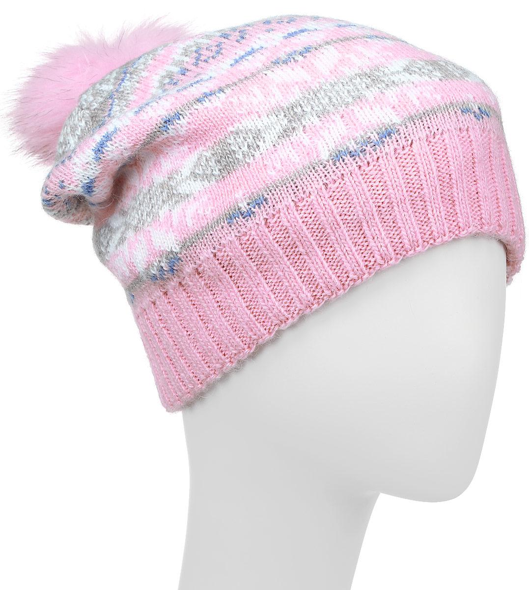 Шапка женская Finn Flare, цвет: розовый. W16-12127_323. Размер 56W16-12127_323Стильная женская шапка Finn Flare дополнит ваш наряд и не позволит вам замерзнуть в холодное время года. Шапка выполнена из высококачественной пряжи, что позволяет ей великолепно сохранять тепло и обеспечивает высокую эластичность и удобство посадки.Модель оформлена оригинальным орнаментом и дополнена пушистым помпоном из меха песца. Такая шапка станет модным и стильным дополнением вашего гардероба.Уважаемые клиенты!Размер, доступный для заказа, является обхватом головы.