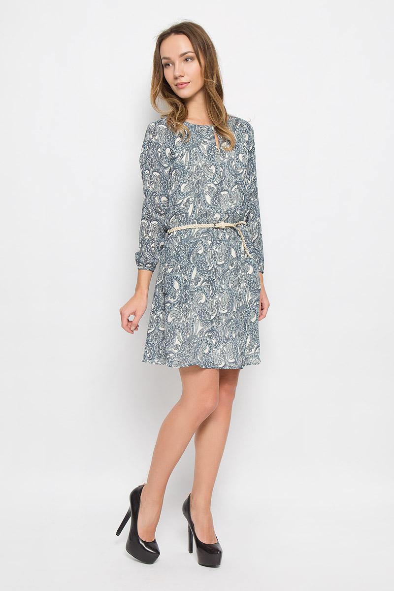 Платье Broadway Orly, цвет: синий, бежевый. 10156476_526. Размер M (46)10156476_526Стильное платье выполненное из полиэстера на гладкой полупрозрачной подкладке идеально дополнит ваш образ. Модель с длинными рукавами-реглан и круглым вырезом горловины на спинке застегивается на пуговицу. На талии платье дополнено эластичной резинкой. Манжеты рукавов дополнены пуговицами. Модель имеет два втачных кармана. В комплект входит ремень с металлической пряжкой.
