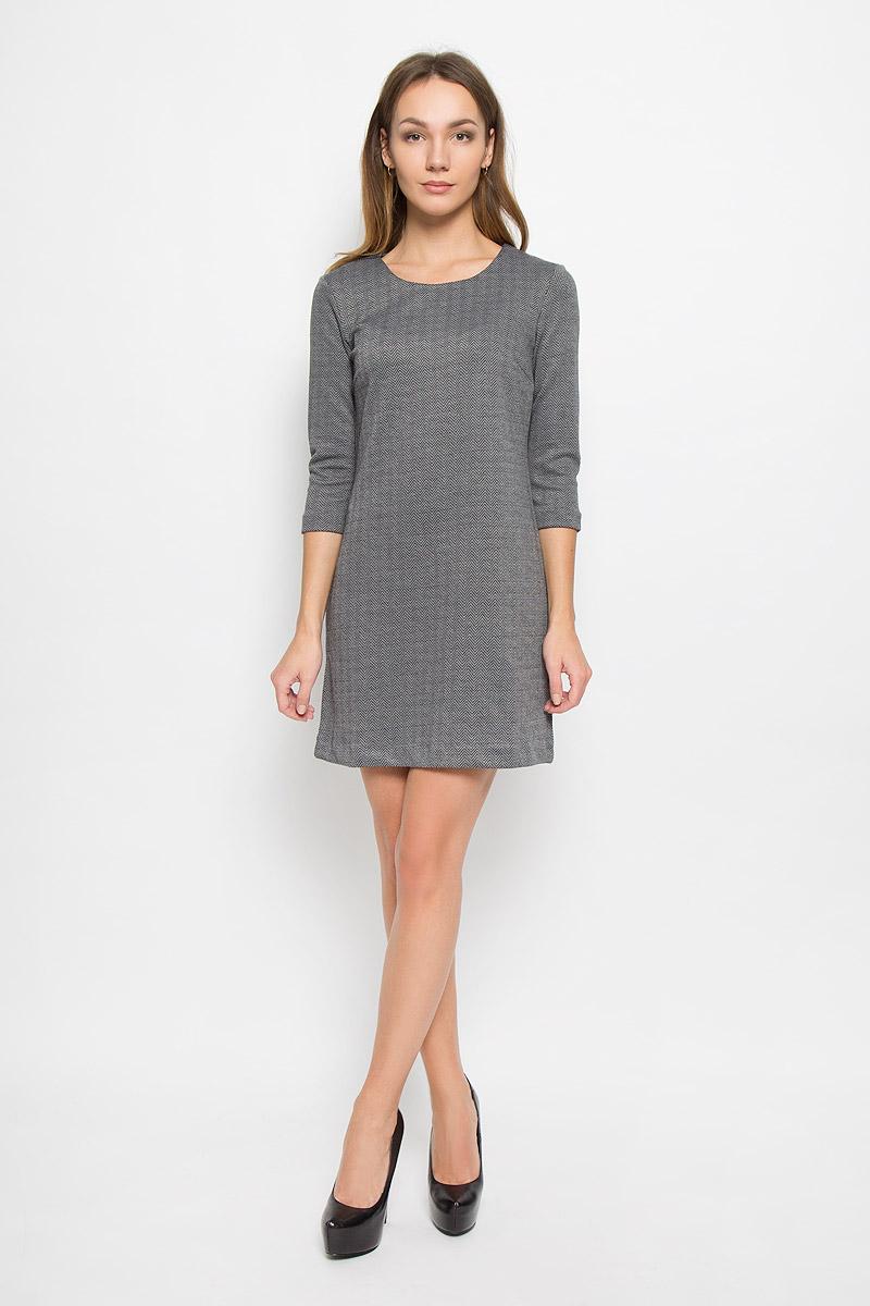 Платье Sela Casual, цвет: темно-серый меланж. DK-117/845-6445. Размер S (44)DK-117/845-6445Стильное женское платье Sela Casual, выполненное из полиэстера и вискозы, отлично дополнит ваш образ. Модель длины мини с круглым вырезом горловины и рукавами 3/4.