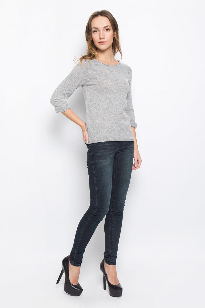 Пуловер10156956_703Стильный женский пуловер Broadway Telina выполненный из высококачественно пряжи отлично дополнит ваш образ. Модель с круглым вырезом горловины и рукавами-реглан 3/4. Рукава дополнены декоративными отворотами. Низ изделия и горловина оформлены эффектом необработанного края.