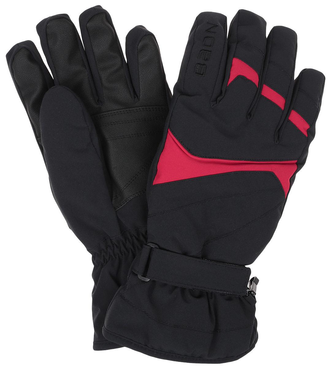 Перчатки мужские Baon, цвет: черный, красный. B866505. Размер XL (52)B866505_BLACK-RUBINГорнолыжные перчатки Baon разработаны специально для поклонников зимних видов спорта. Модель легко снимается и в то же время надежно фиксируется на руке благодаря эластичной вставке на манжете и клапану на липучке, регулирующему объем. Подкладка изделия выполнена из мягкого полиэстера. Ладонная часть выполнена из прочного материала, препятствующего скольжению. Для удобного хранения перчатки оснащены пластиковой застежкой, соединяющей их вместе.